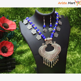 Blue Artificial Pearls Necklace For Women