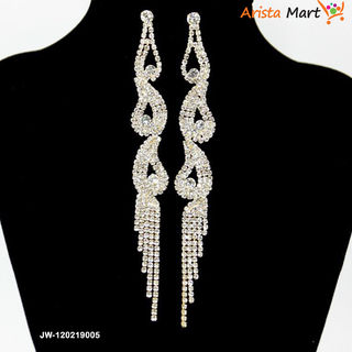 Crystal Tassel Gold plated Silver Chain Earring