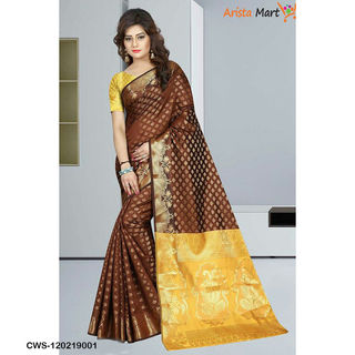 Pretty Brown and Yellow Banarasi Silk Sarees